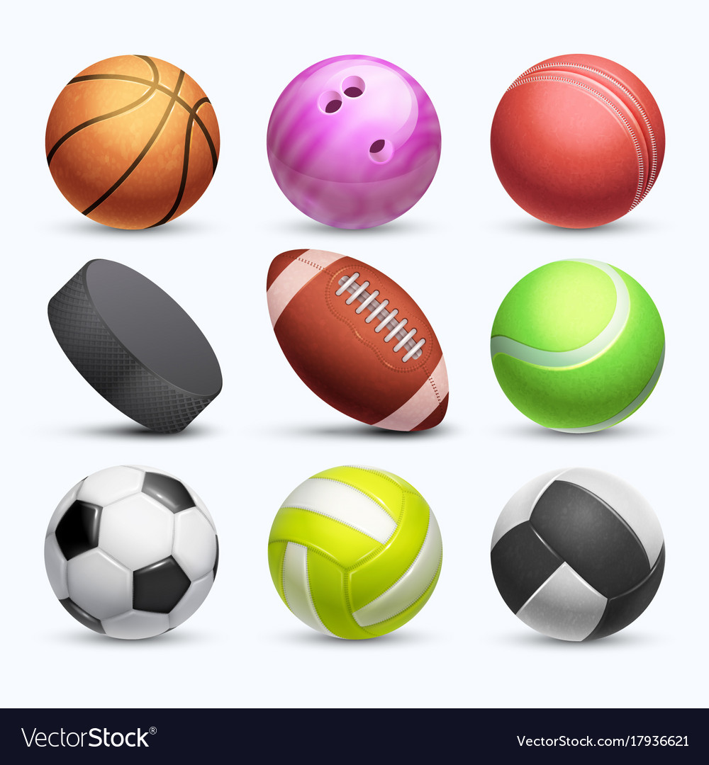 Different 3d Sports Balls Collection Royalty Free Vector