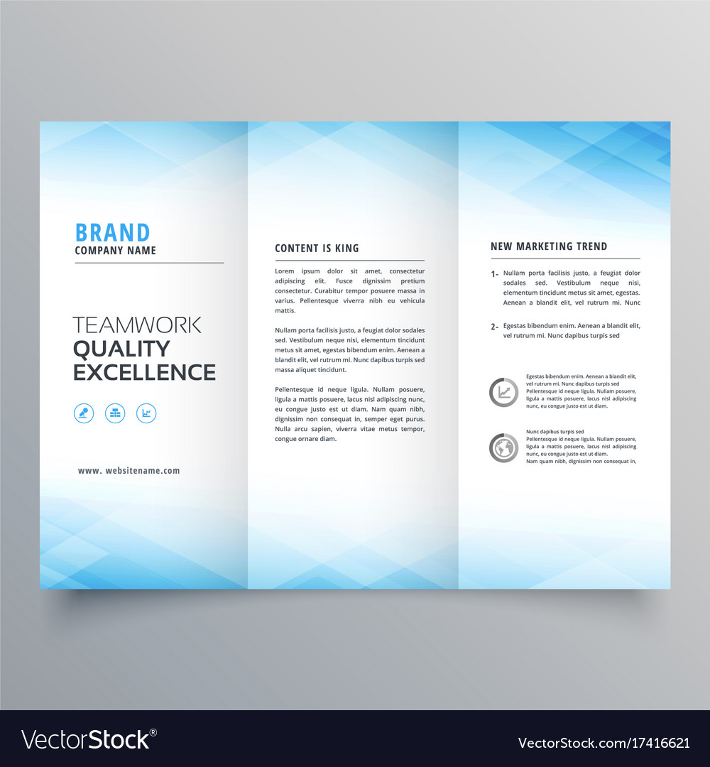 Elegant blue trifold brochure flyer design