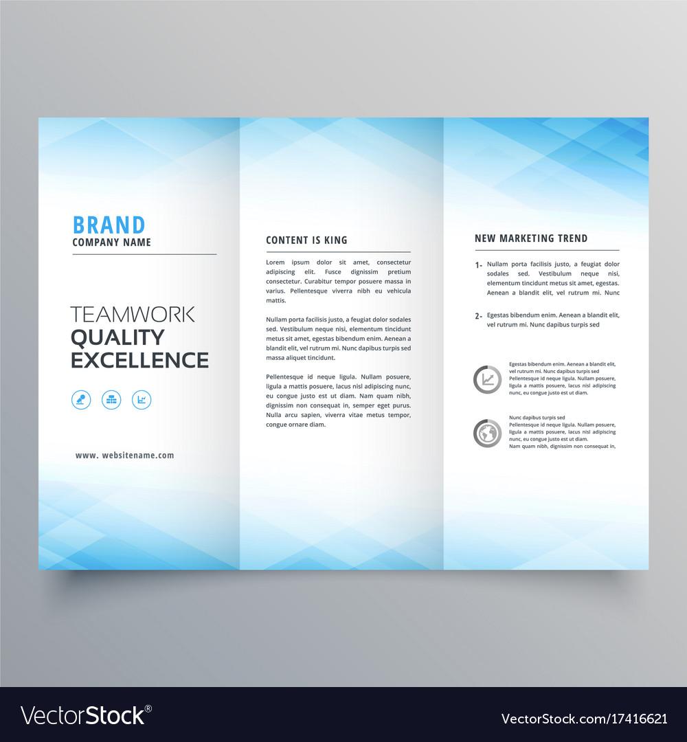 elegant blue trifold brochure flyer design vector image
