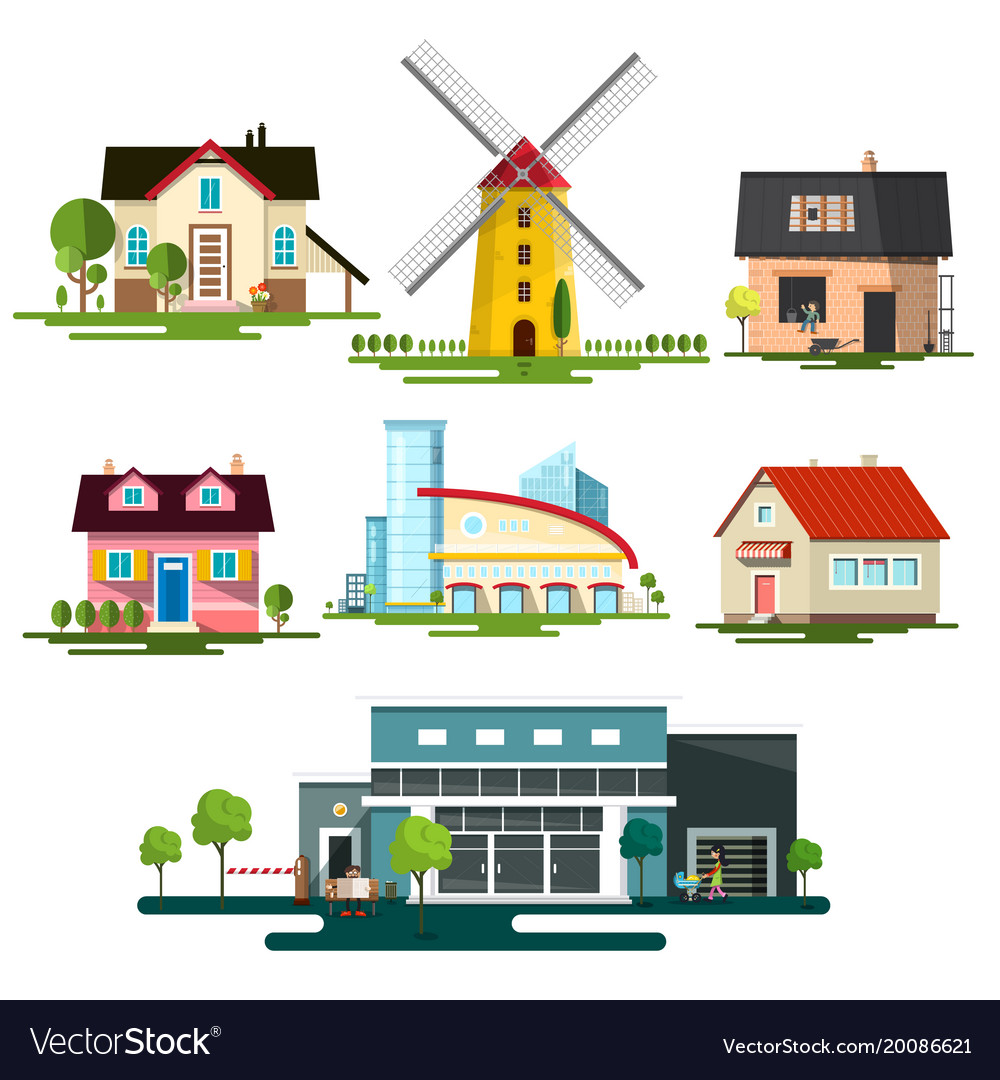 Flat design buildings family house windmill and