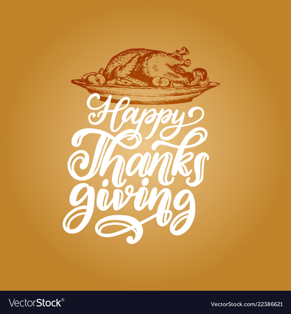 Happy thanksgiving hand lettering on yellow