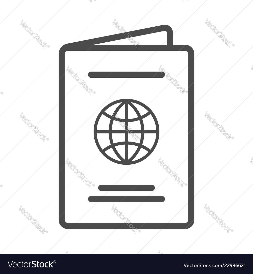 International passport linear icon thin line