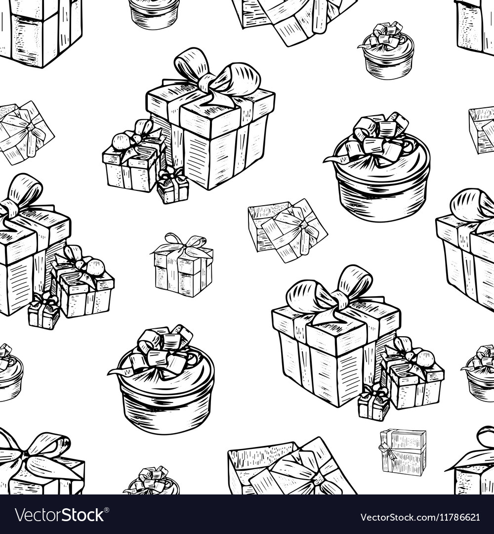 Seamless pattern of gift boxes