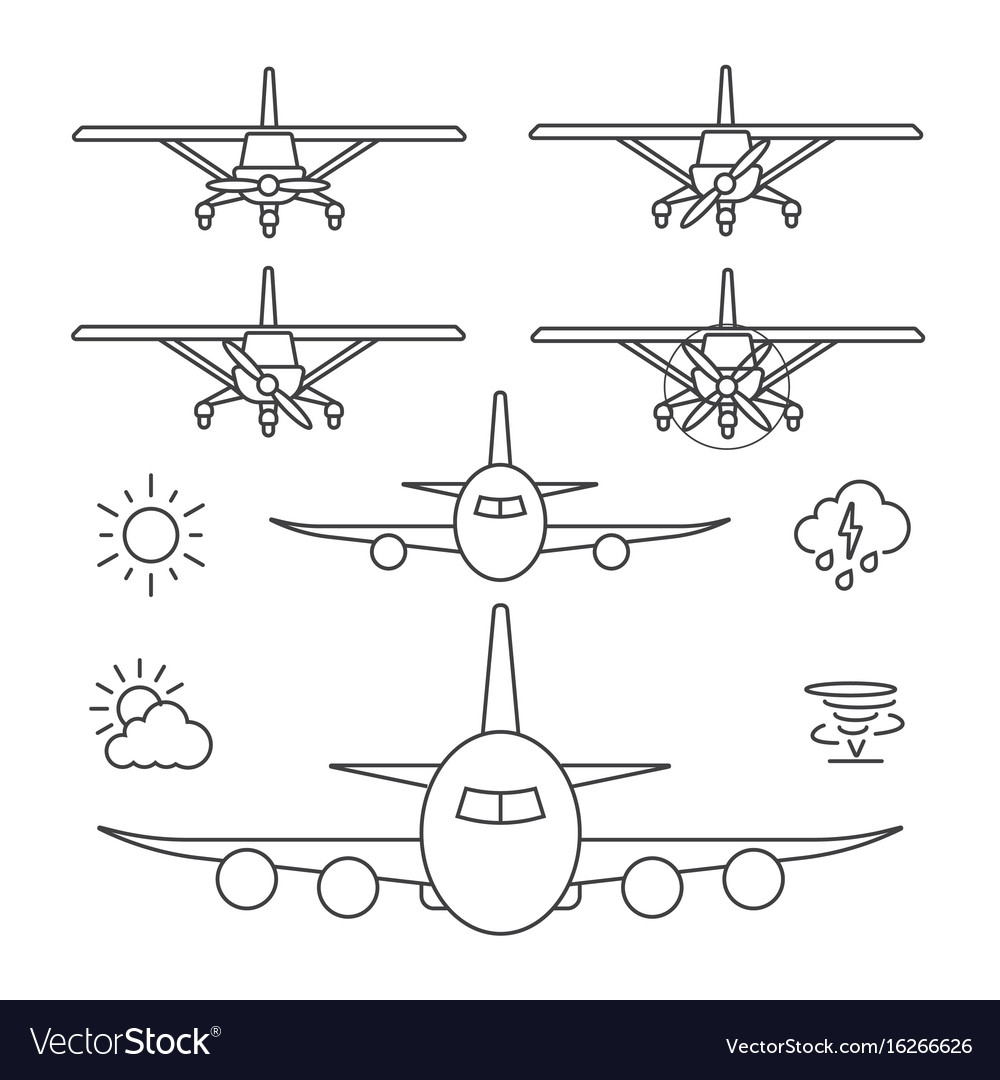 Airplane icons line icon vector image