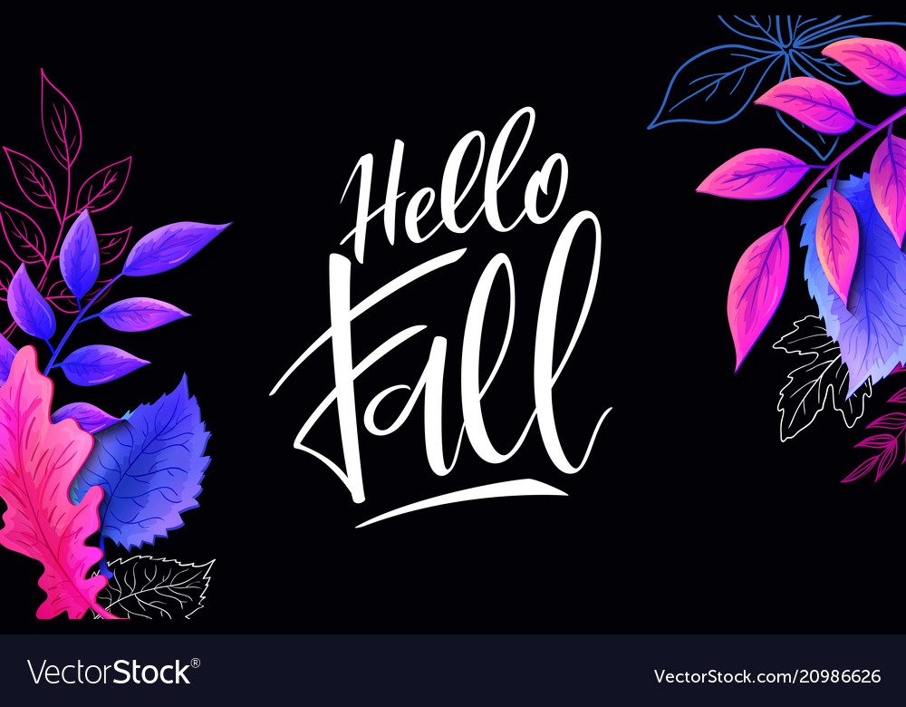 Banner with hand lettering label - hello
