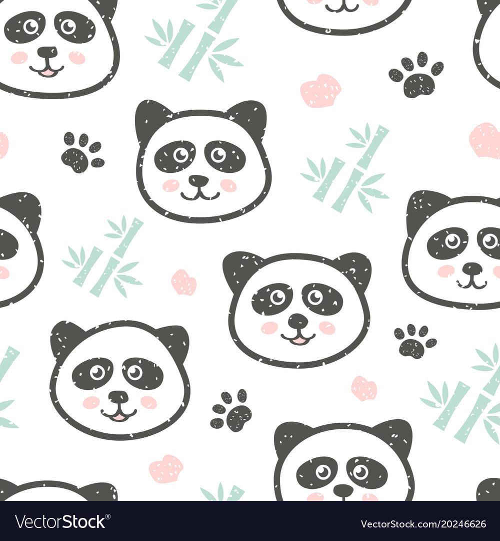 Childish seamless pattern with cute panda and