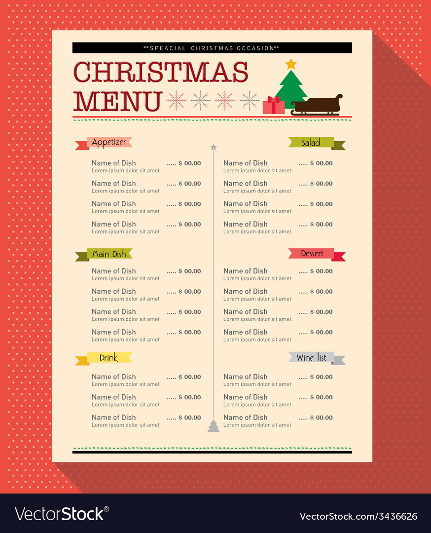 Christmas menu food and drink design template
