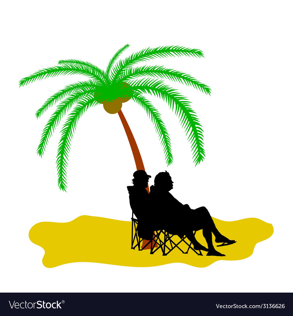 Couple silhouette under the palm tree vector image
