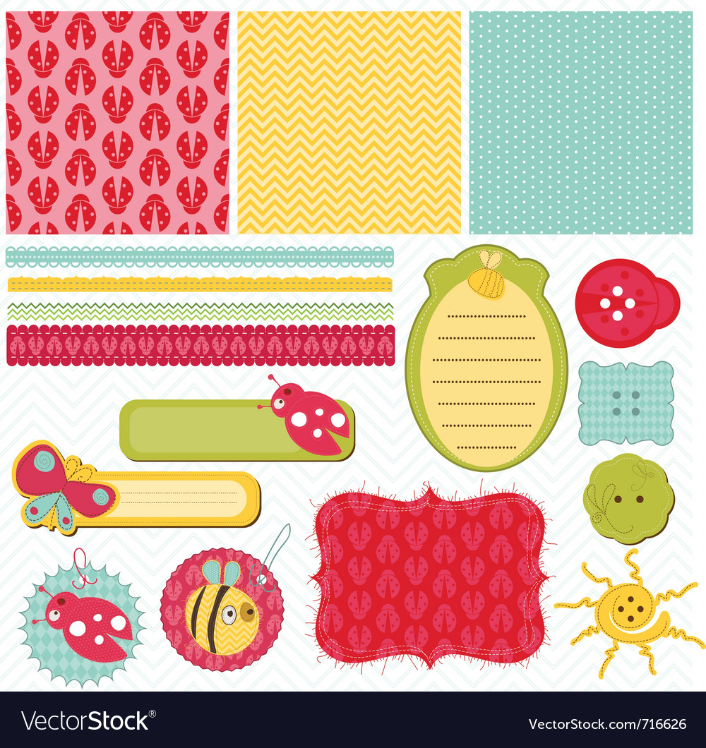 Design Elements For Baby Scrapbook Royalty Free Vector Image