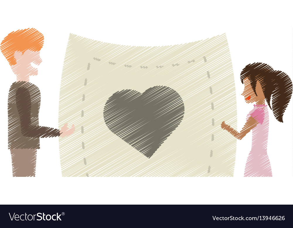 Drawing couple holding card paper heart vector image