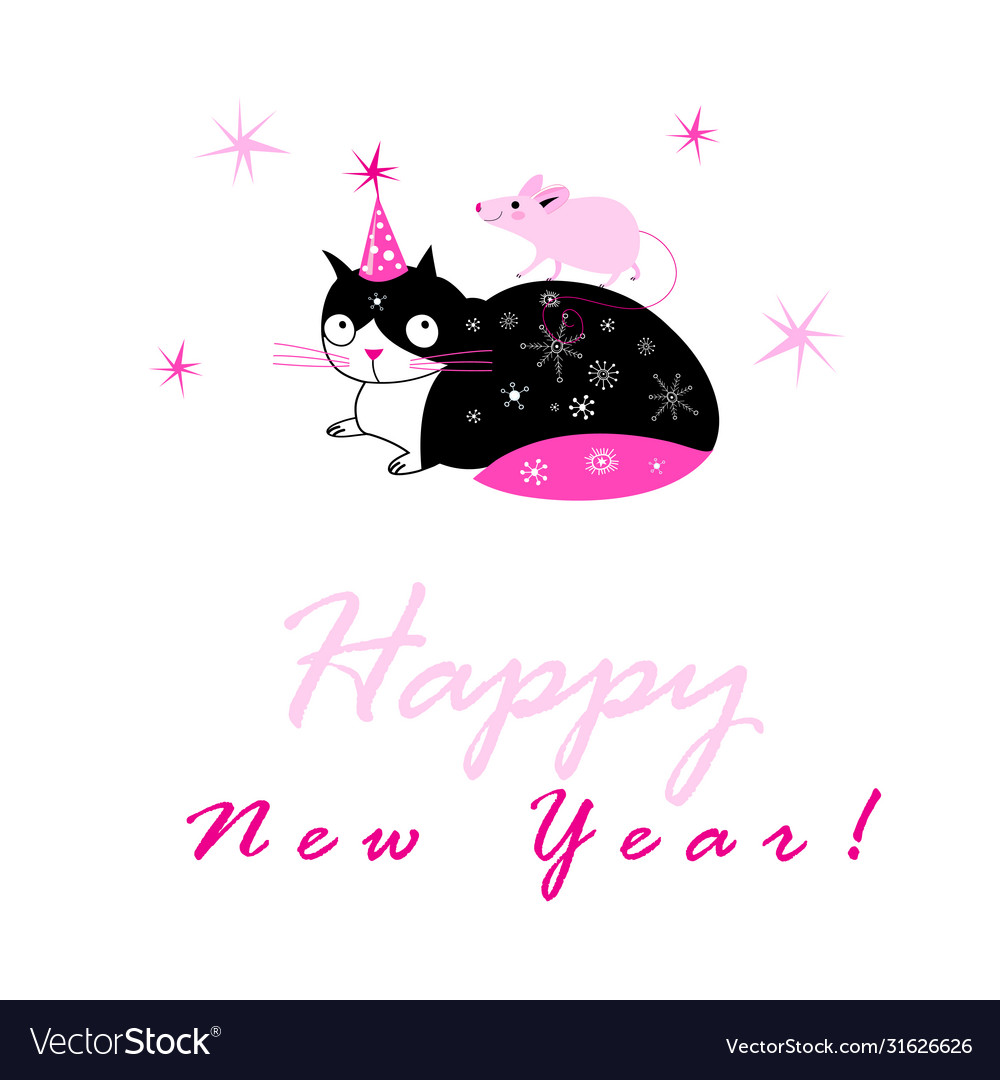 Festive new year card with a cat and a mouse