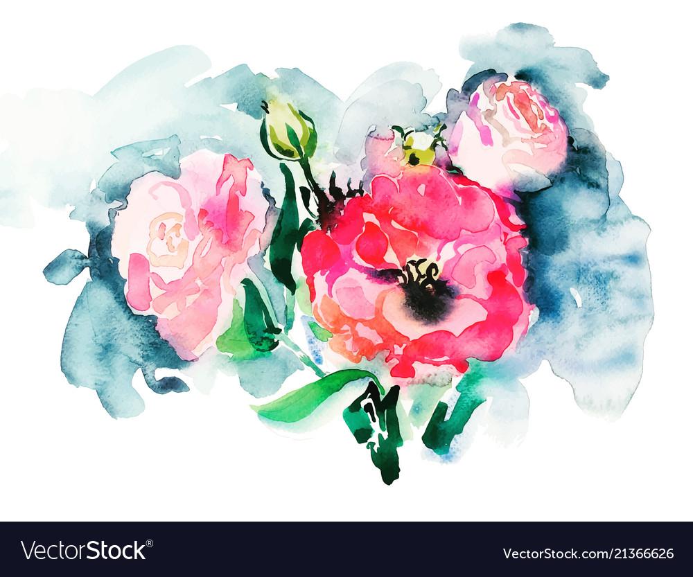Handmade watercolor painting of pink roses