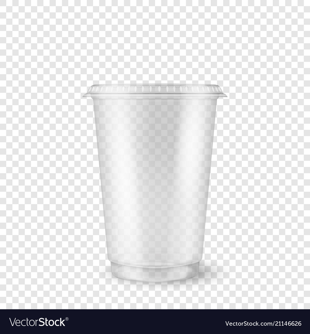 Realistic 3d empty clear plastic disposable