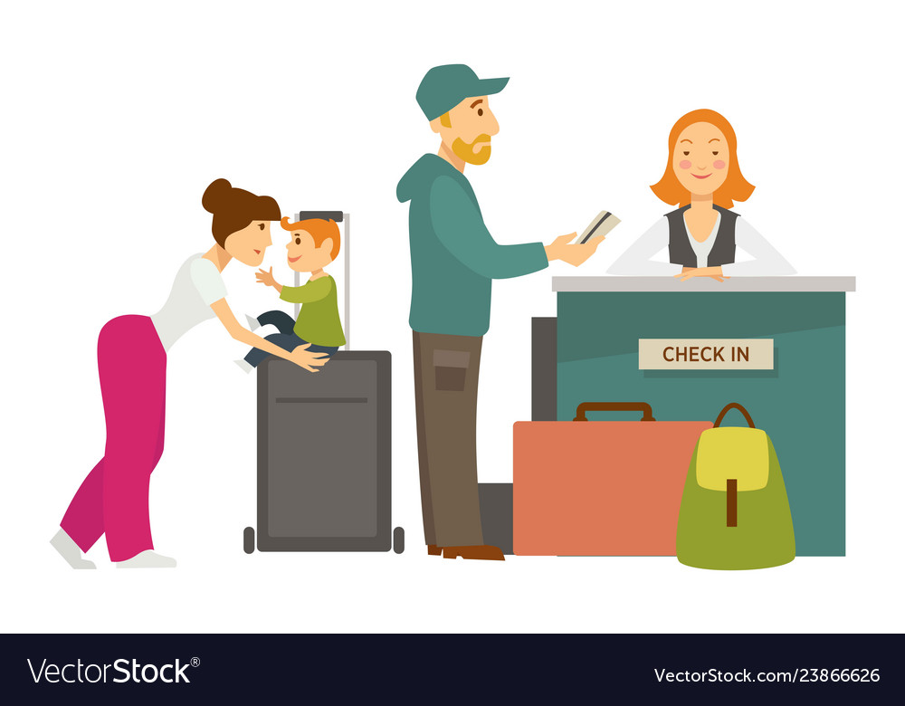 Reception desk check in airport family with
