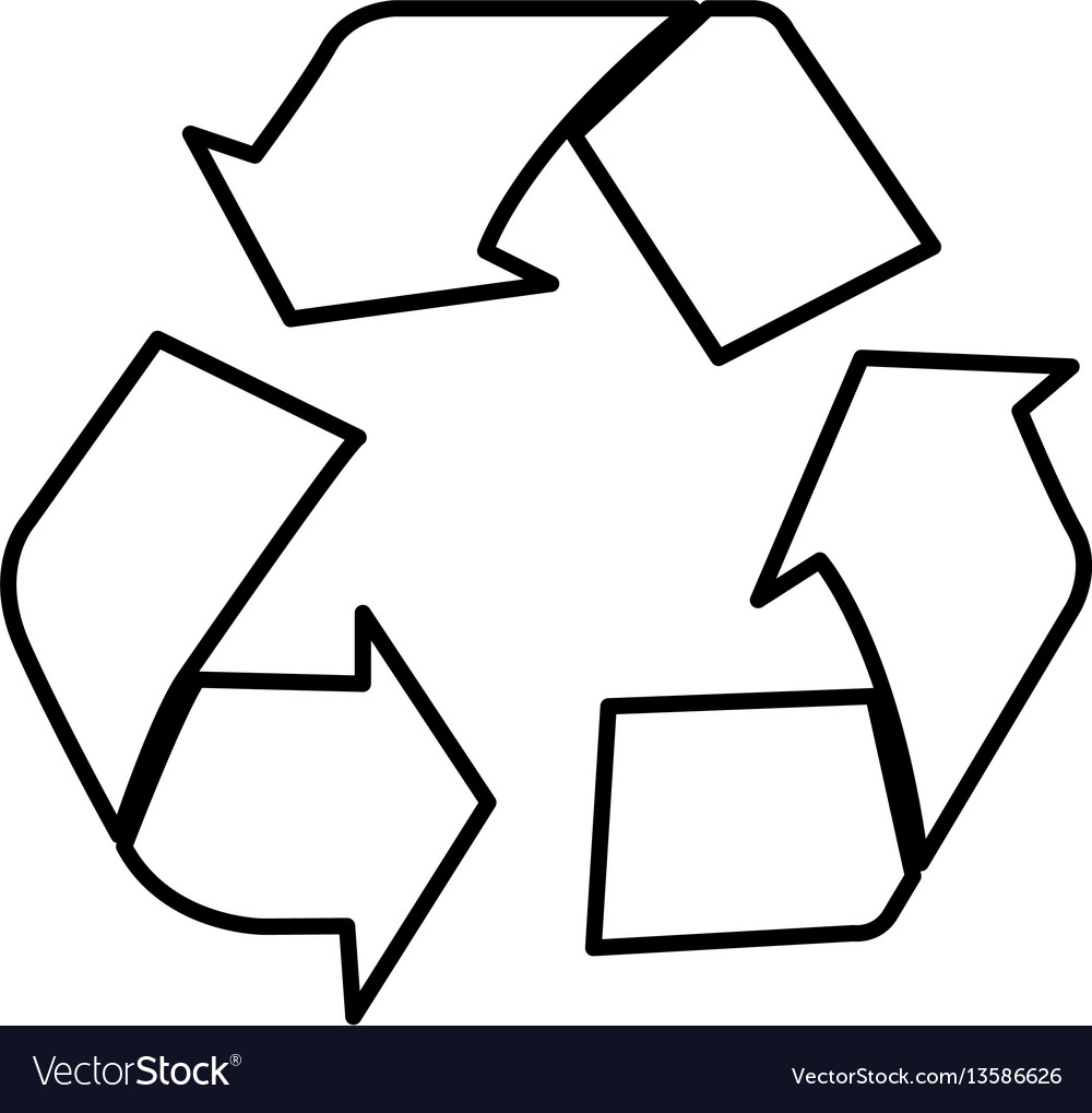 silhouette recycle sign icon royalty free vector image