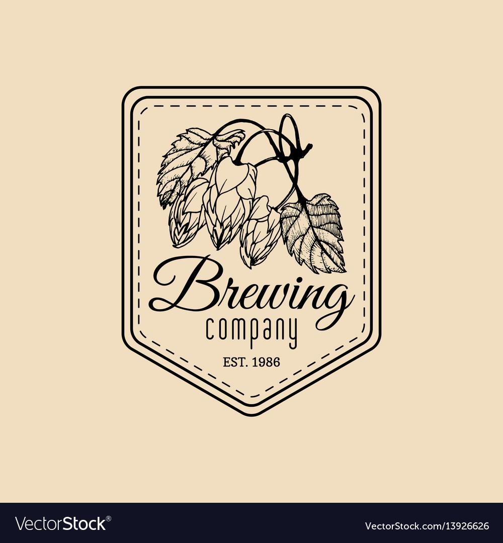Vintage hops logo brewery herbs design