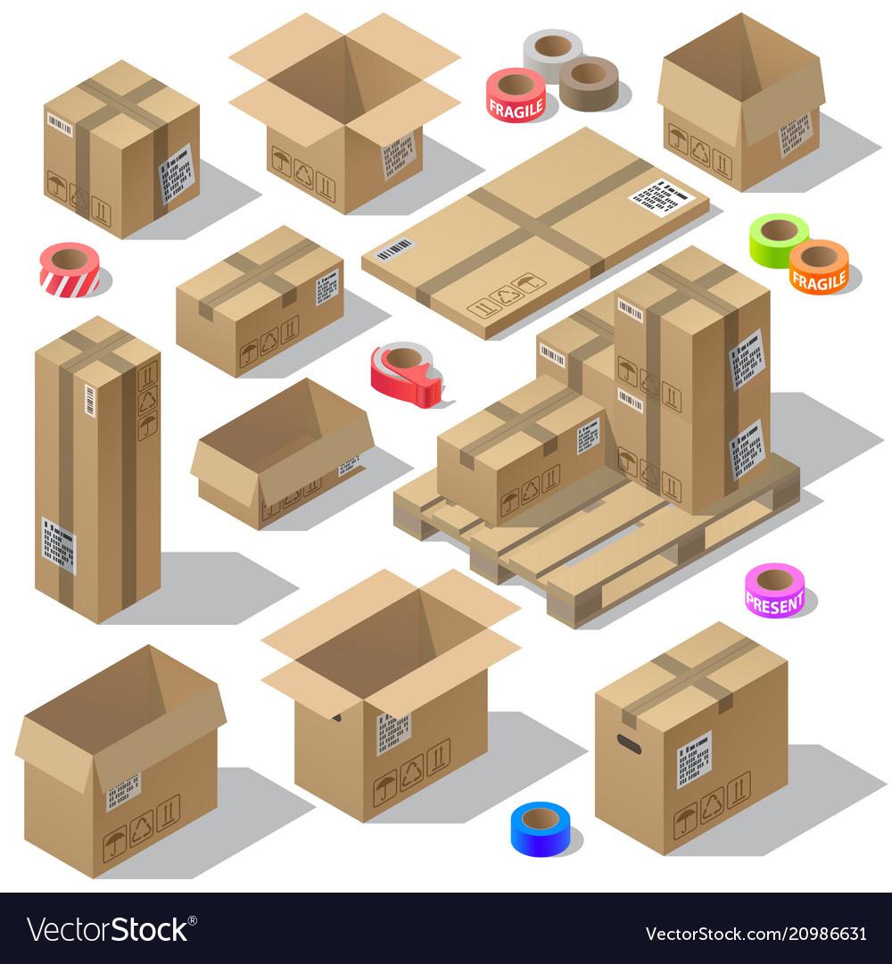 3d isometric set of cardboard packaging