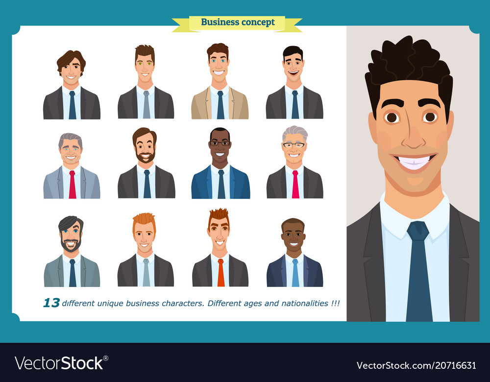 Business men flat avatars set with smiling face