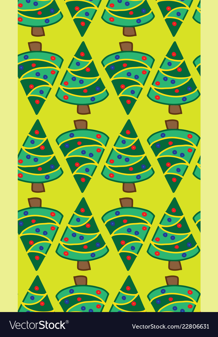 Christmas trees lime green seamless pattern