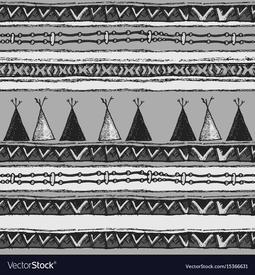 Ethnic tribal wigwam seamless pattern