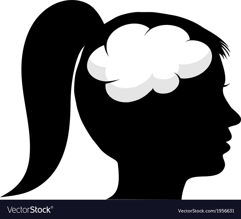 female silhouette with brain royalty free vector image vectorstock