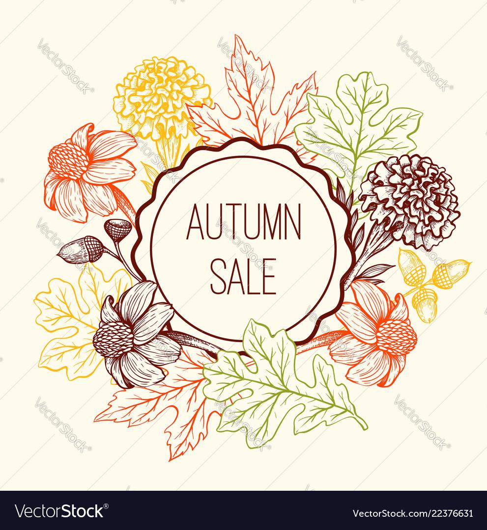 Floral frame for seasonal fall sale
