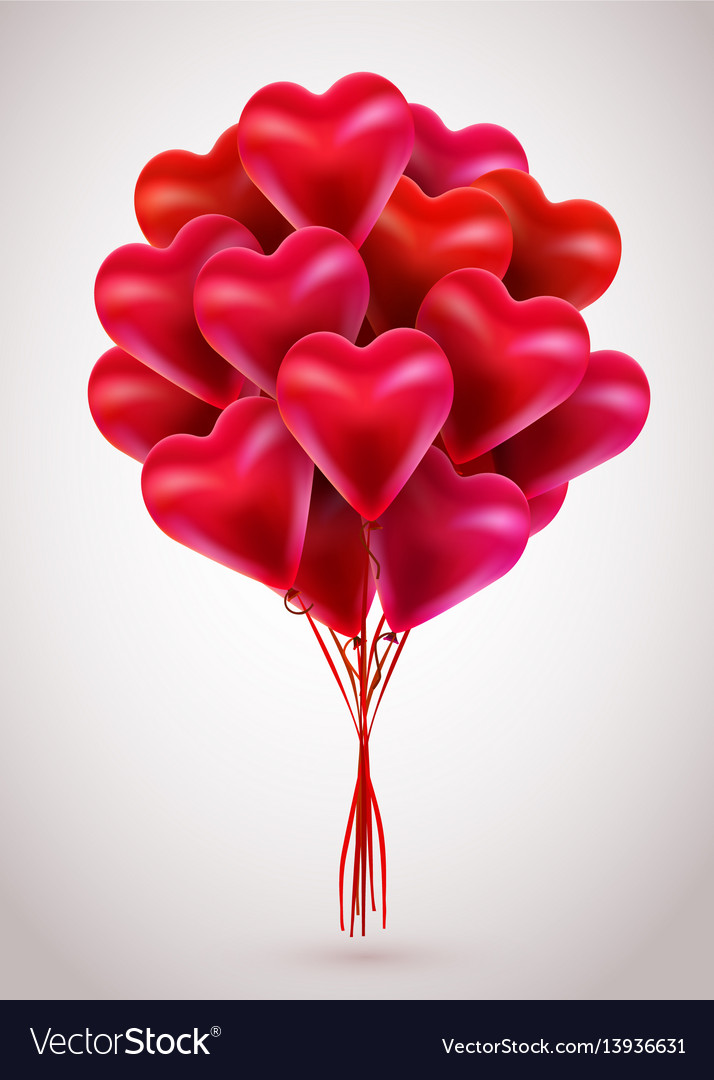Flying bunch of red balloon hearts valentines day
