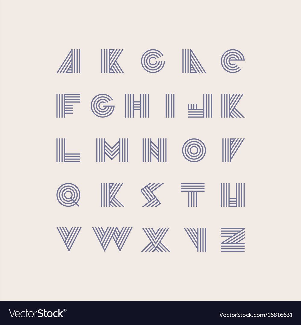Font based on purple stripes in geometric style vector image