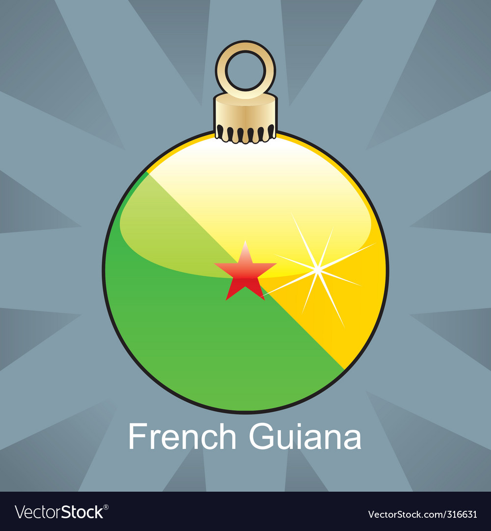 French guiana flag on bulb vector