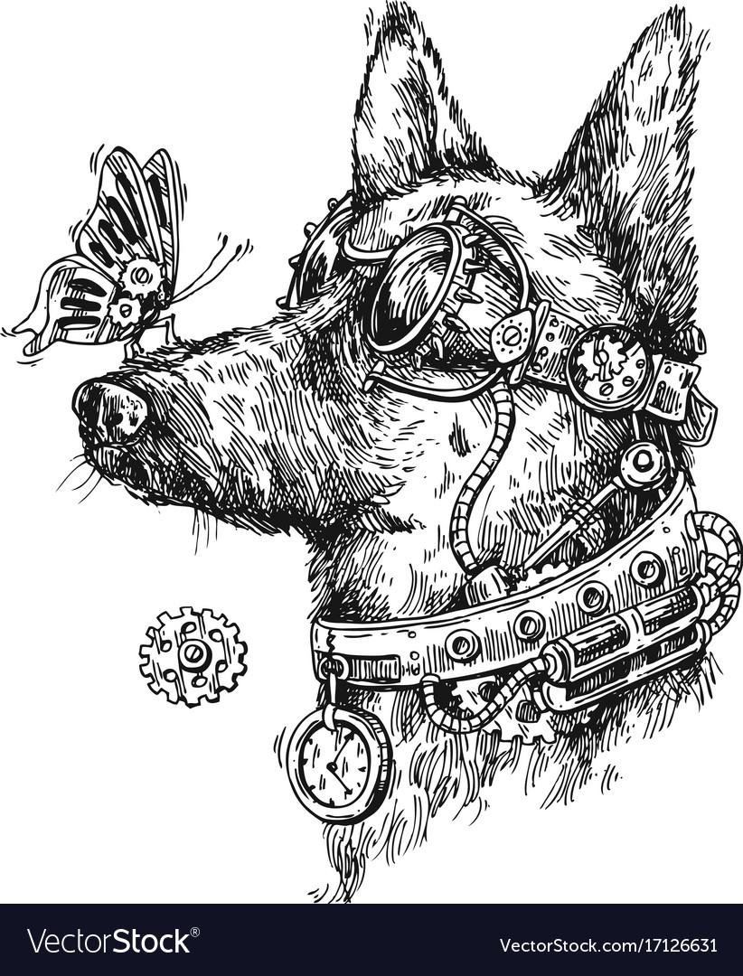 Fashion week Animal Steampunk sketches for girls
