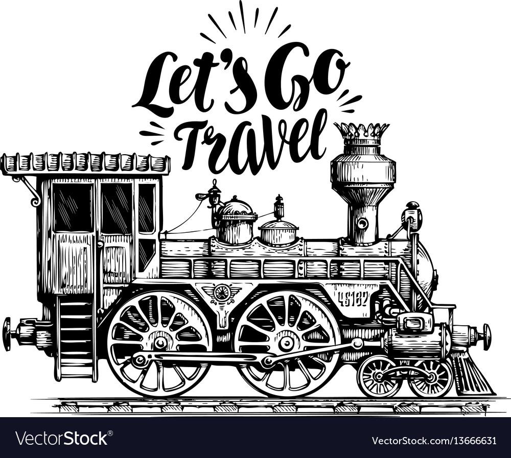 Hand drawn vintage locomotive steam train vector image