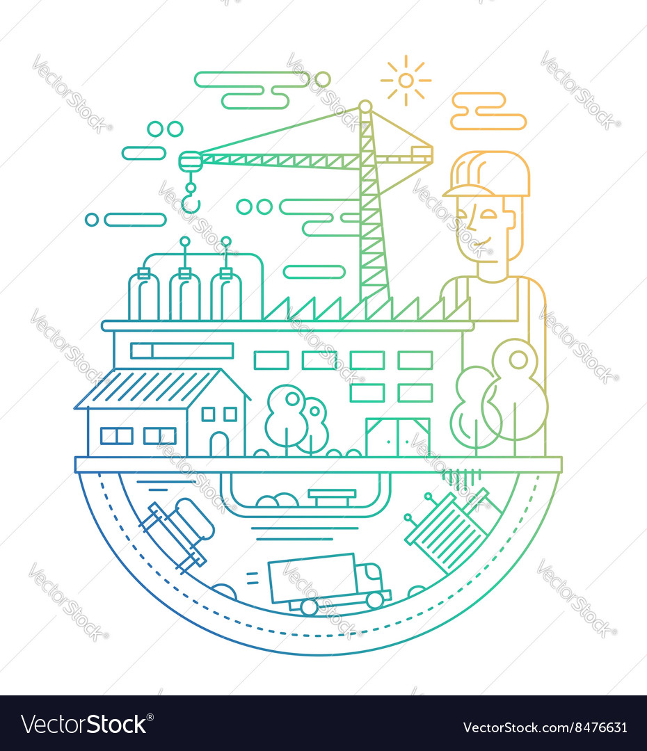 Industrial plant with a worker - line design vector image