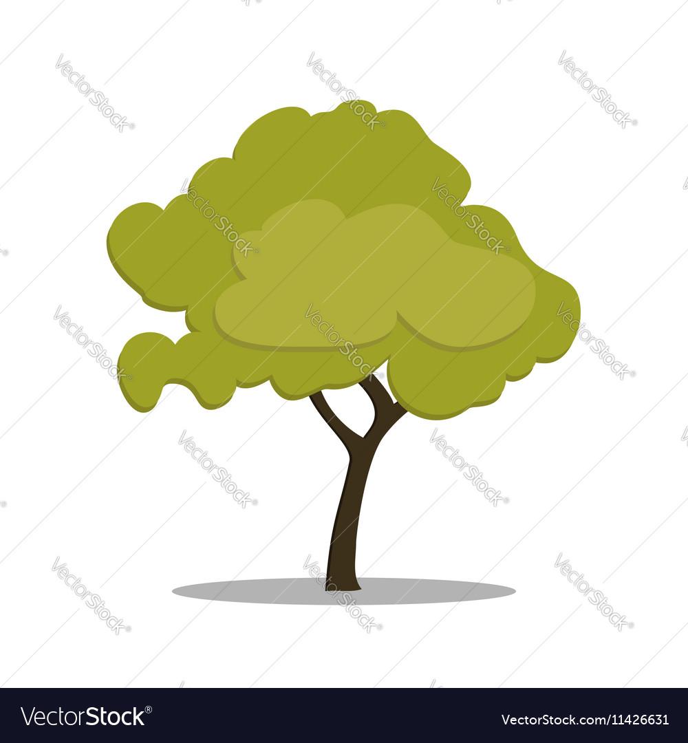Stylized green tree in cartoon style