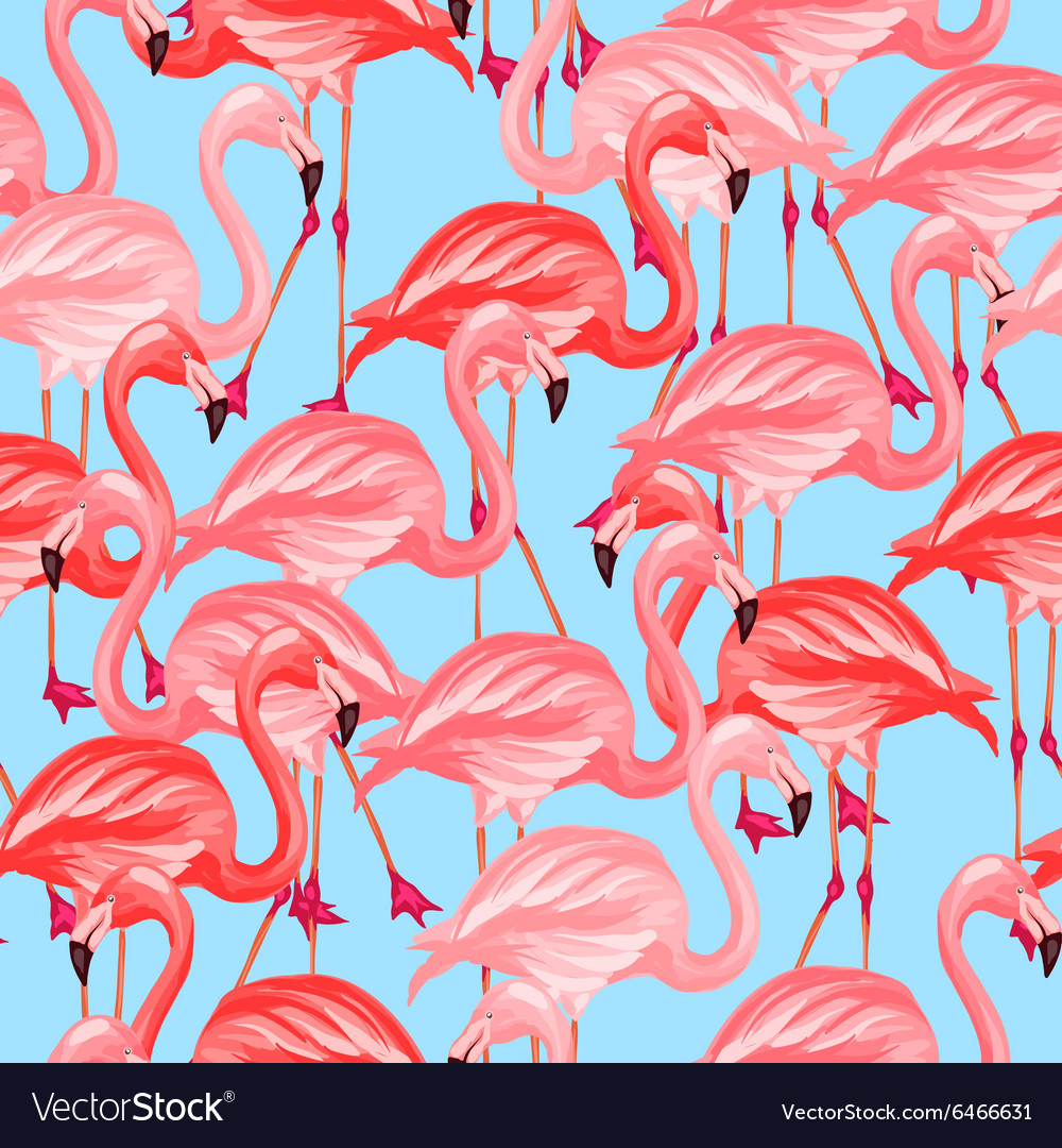 Tropical birds seamless pattern with pink