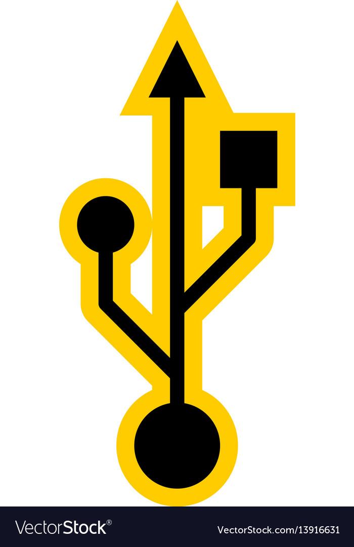 Usb Port Sign Universal Serial Bus Symbol Vector Image