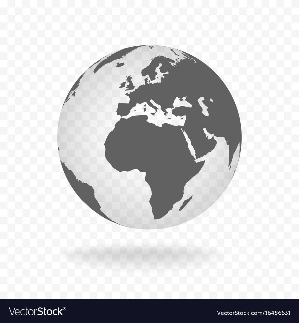 White Gray Globe Glass Transparent Vector Image