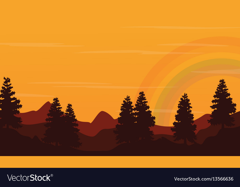 At sunset hill landscape with rainbow silhouette