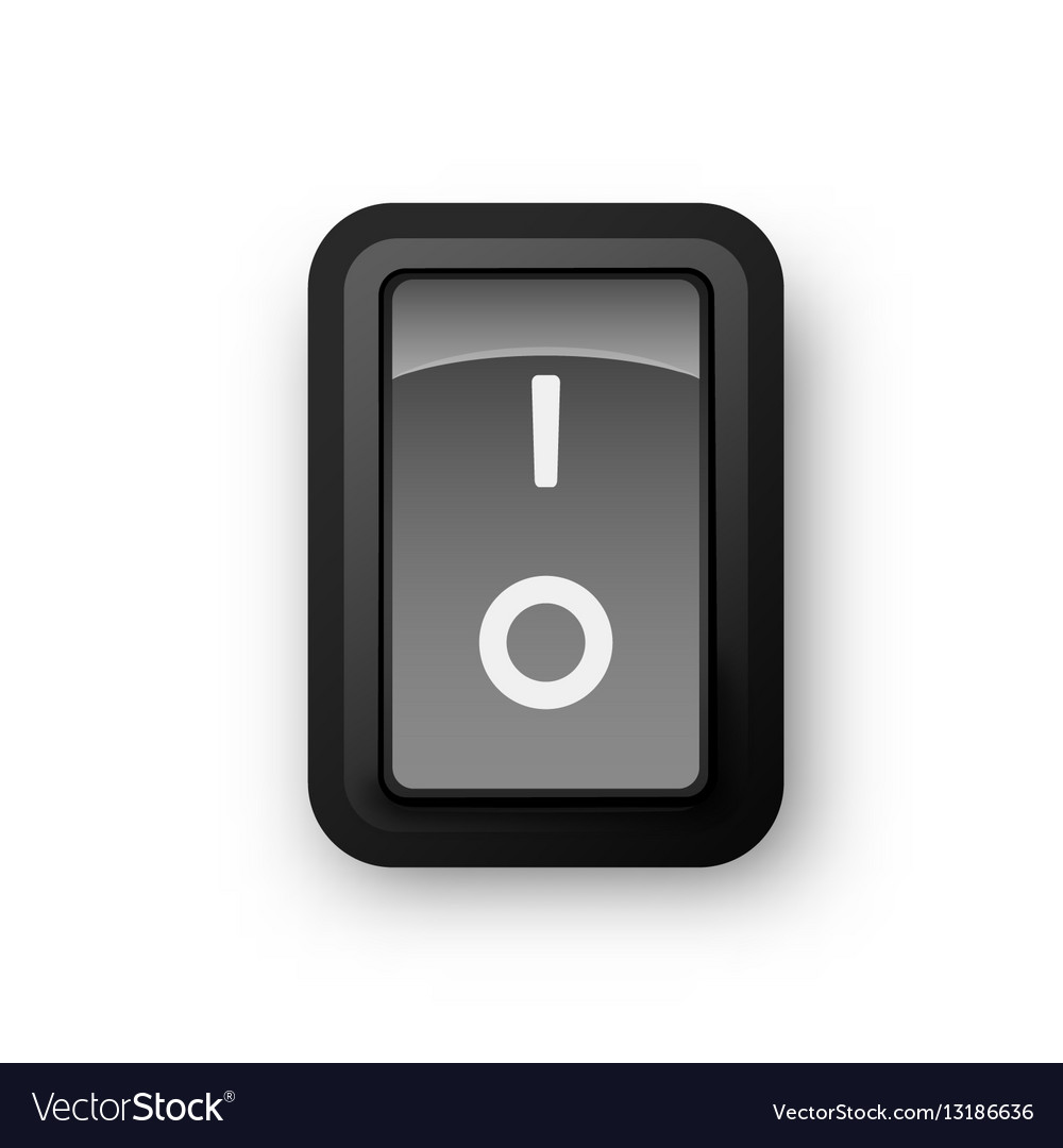 Black pc electric switch off position Royalty Free Vector