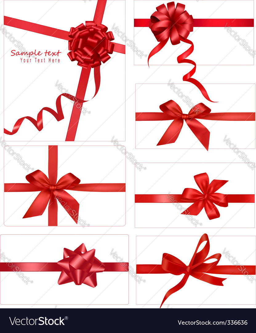 Collection with bows and ribbons vector image
