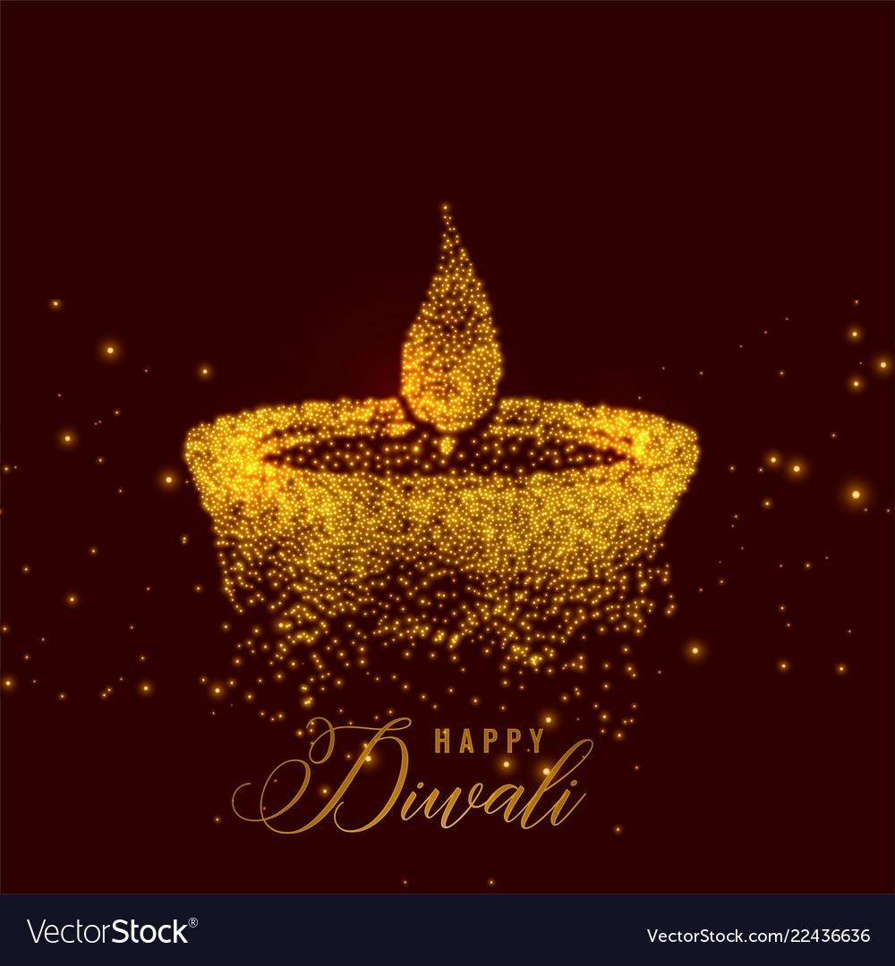Creative diwali diya made with golden particles