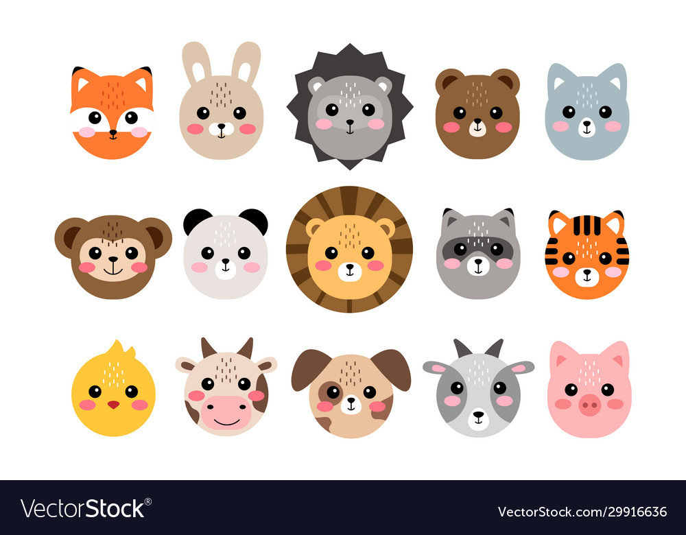Cute animal faces hand drawn characters