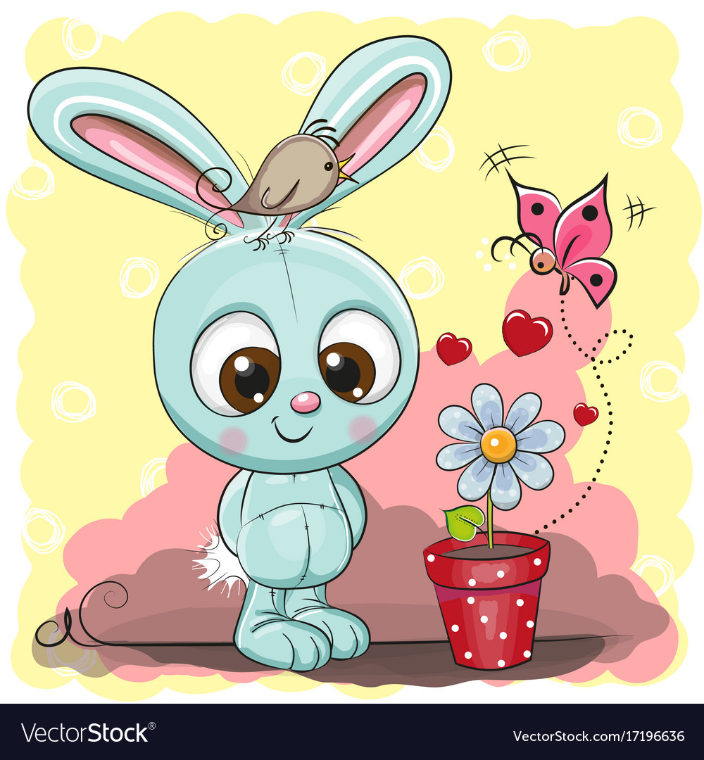 Cute cartoon rabbit with flower vector image