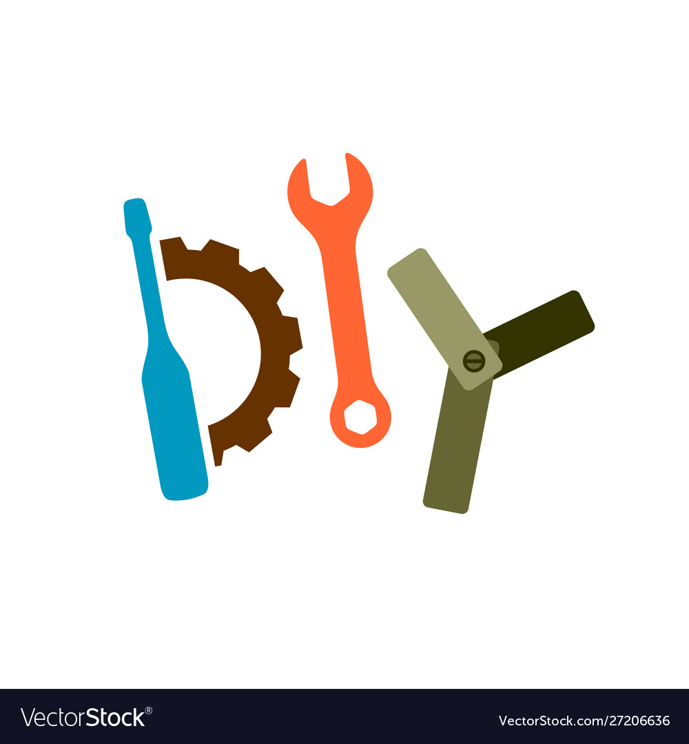 Diy logo with tools wrench screwdriver gear and