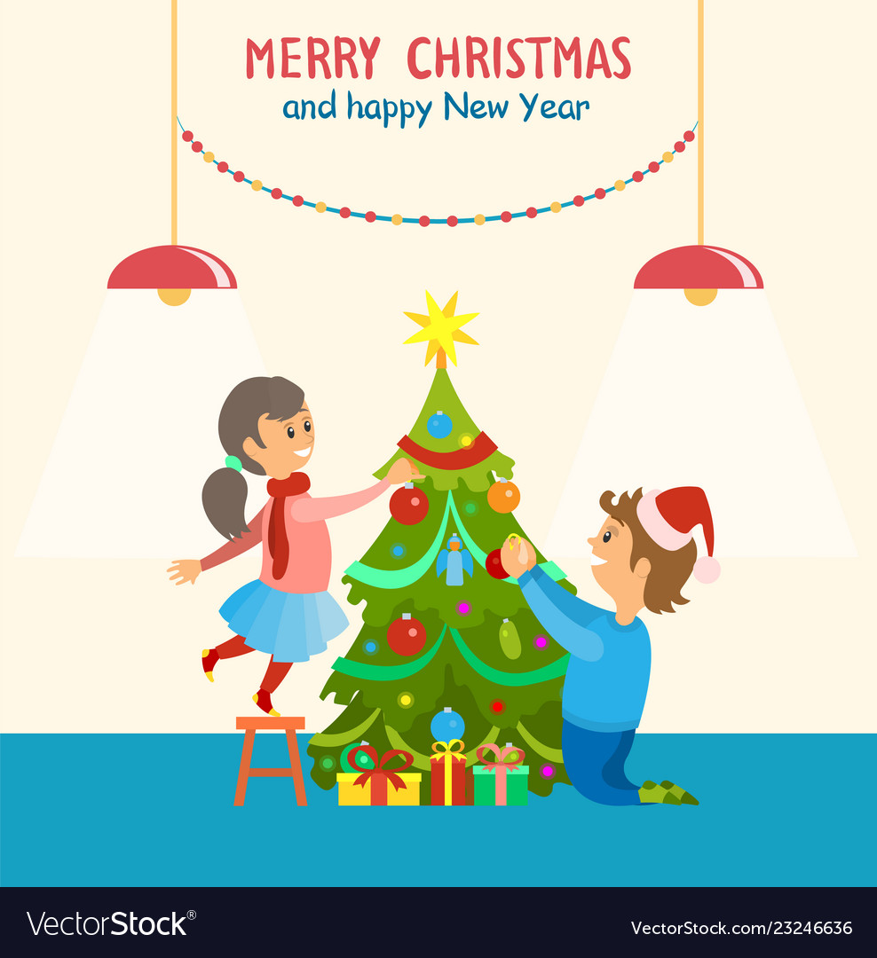 Merry Christmas And Happy New Year Home Decor Vector Image