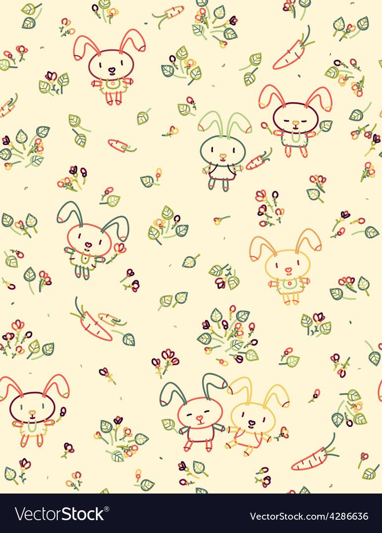 Rabbit pattern floral vector image
