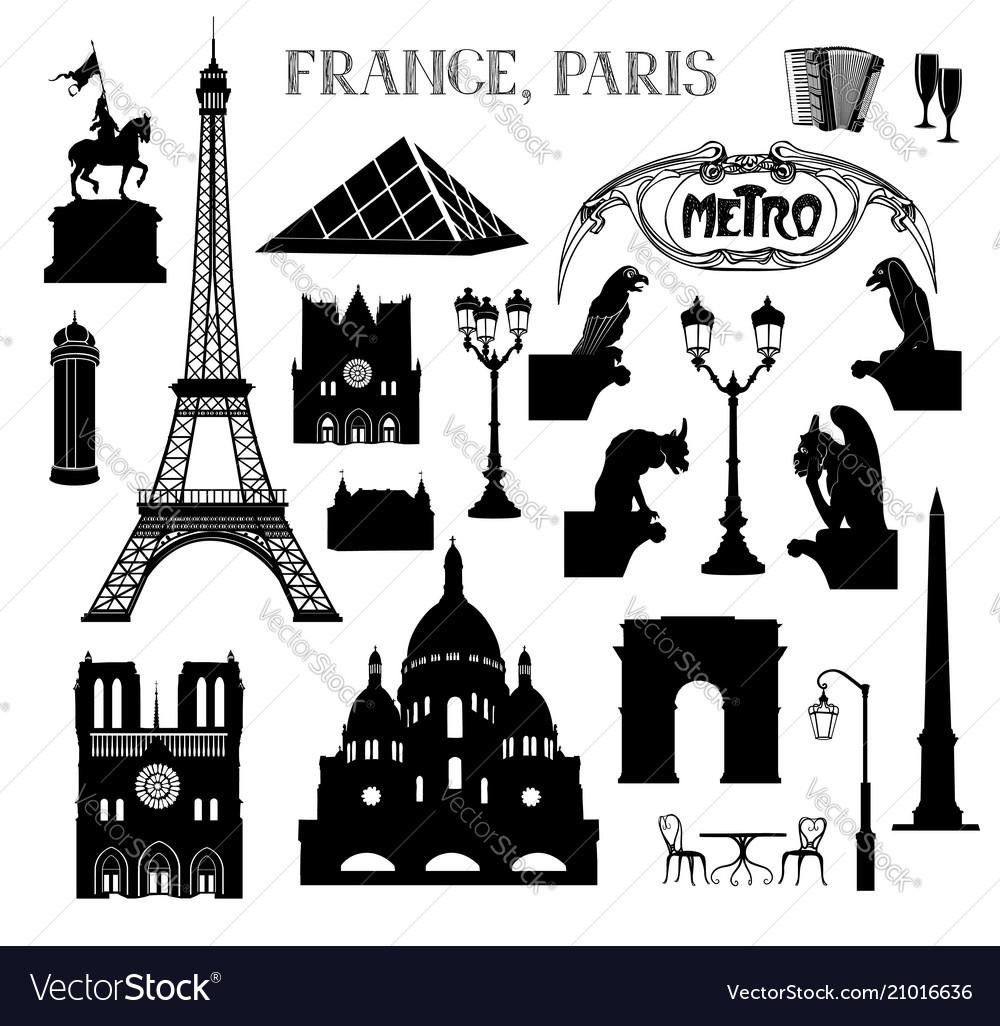Travel paris icon set famous places of france