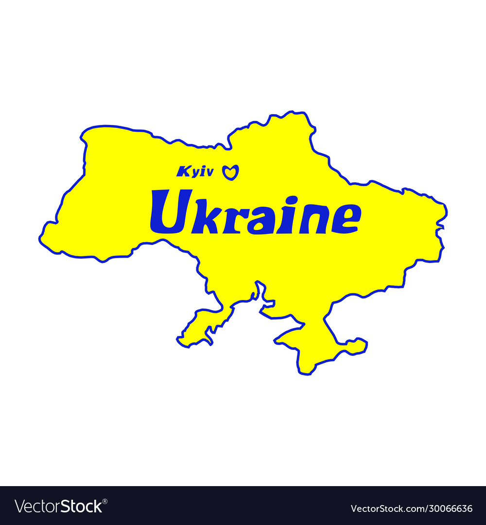 Yellow outline map ukraine stylized concept