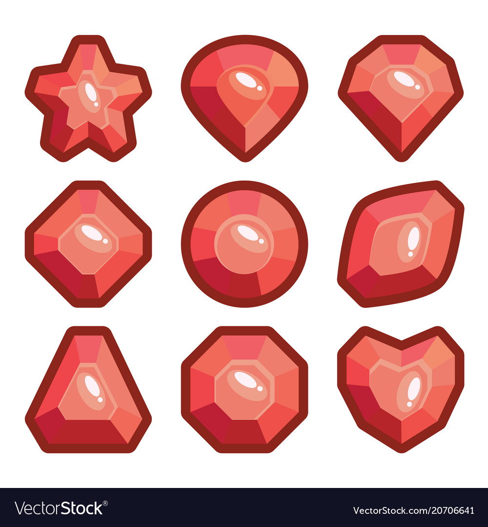 A set of light red emblems of precious stones