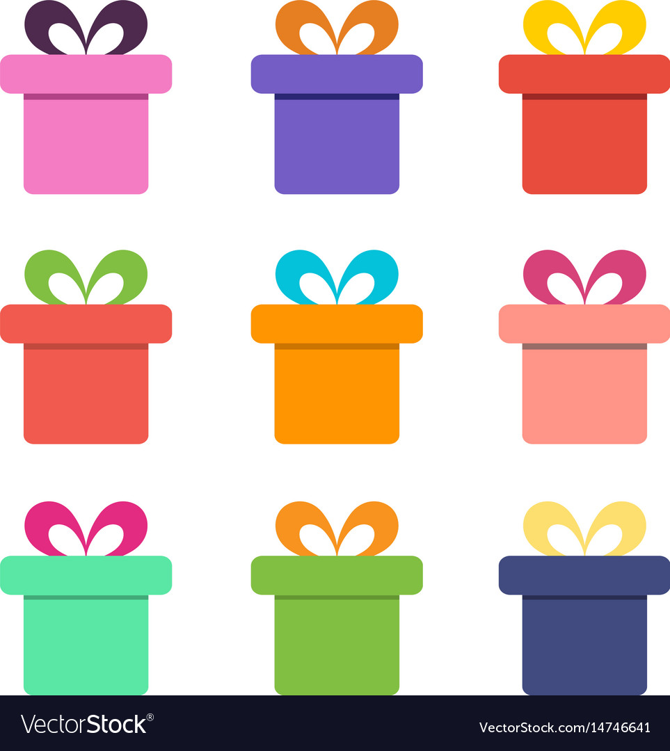Colorful gift box icons vector image