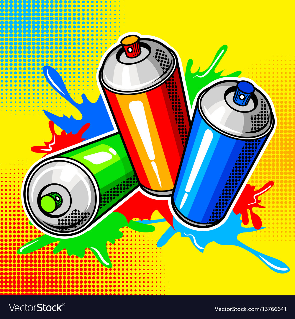 Colorful paint cans comic book style